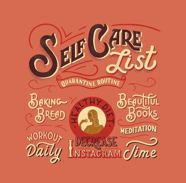 Self care list - lettering illustration