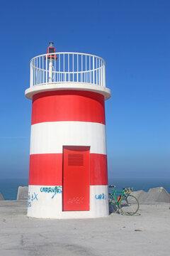 Lighthouse on Nazare Beach, Portugal