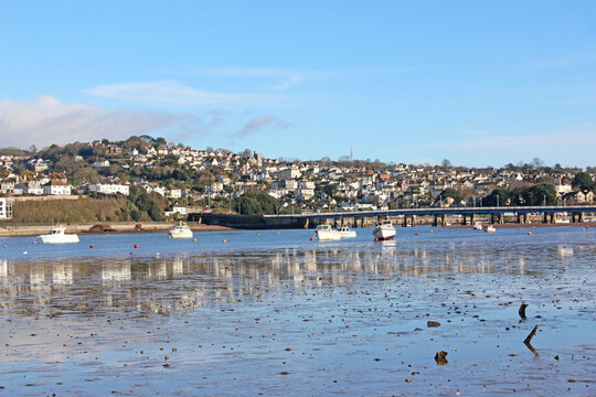 River Teign and Teignmouth at low tide