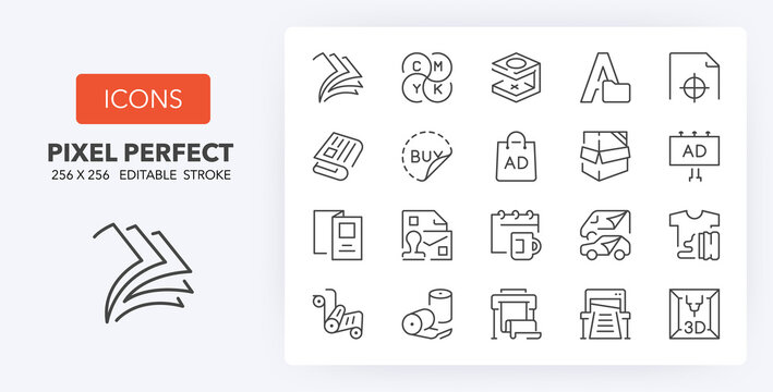 printing line icons 256 x 256