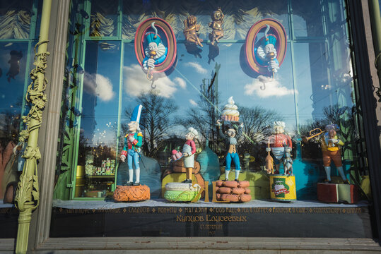 Characters of the Nutcracker created by Mikhail Shemyakin in the front window of the historical Eliseyev Emporium (Eliseevsky Shop) in Nevsky Prospect on February 27, 2020 in Saint Petersburg, Russia.