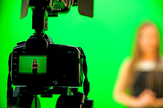 Videography studio with green background