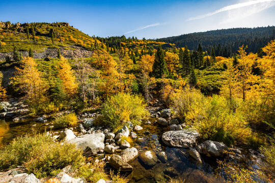 An Autumn scenery of the North Yuba River with trees changing colors on the mountain side.