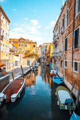 Italy, Venice. Old italian architecture with landmark bridge, romantic boat. Venezia. Grand canal for gondola in travel europe city.