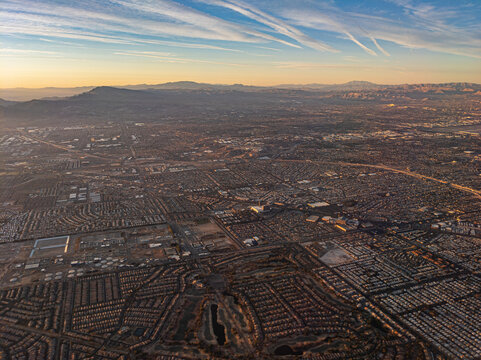 Sunrise aerial view of Las Vegas valley suburbs