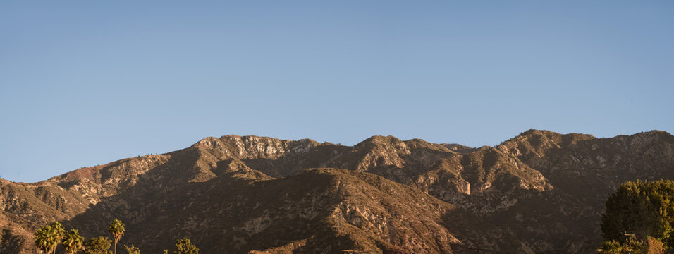 A panoramic view of the San Gabriel Mountains taken from Altadena in Los Angeles County, California.