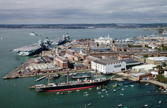 Royal Navy Dockyard, Portsmouth Harbour, Aerial View