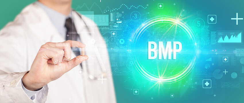 Close-up of a doctor giving you a pill with BMP abbreviation, virology concept