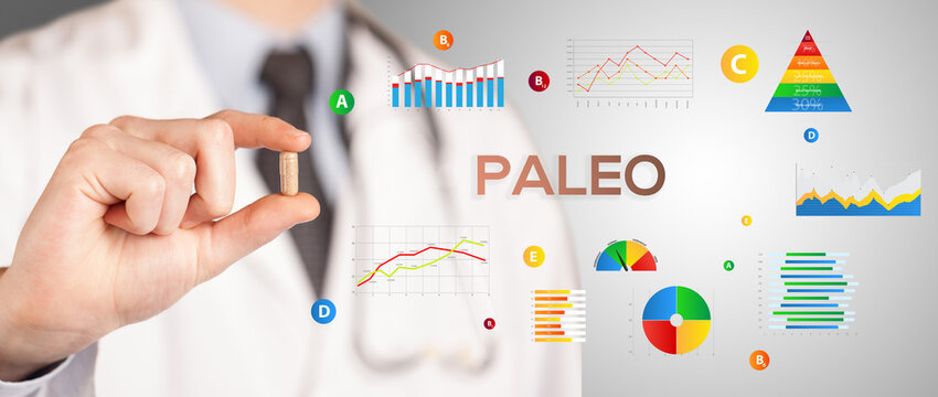 Nutritionist giving you a pill with PALEO inscription, healthy lifestyle concept