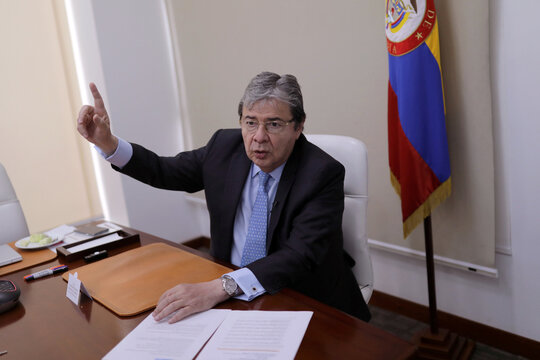 Colombian Minister of Defense Carlos Holmes Trujillo speaks during an interview with Reuters in Bogota
