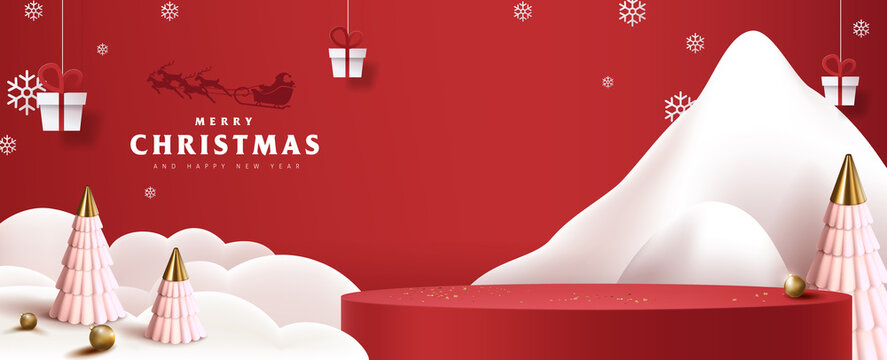 Merry Christmas banner with product display cylindrical shape and festive decoration for christmas