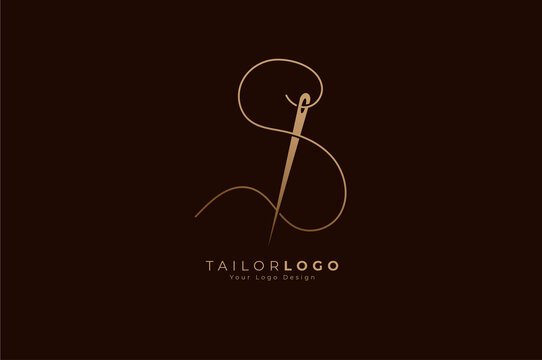 Abstract Initial S Tailor logo, thread and needle combination with gold colour line style , Flat Logo Design Template, vector illustration