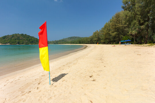 Safe swimming zone patrolled by lifeguards on Layan Beach, Bang Tao Bay, Phuket, Thailand