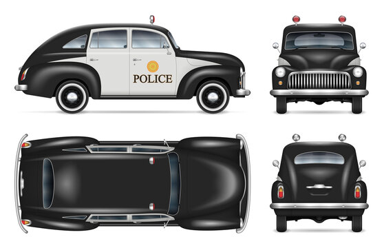 Vintage police car vector mockup on white background view from side, front, back, top. All elements in the groups on separate layers for easy editing and recolor.