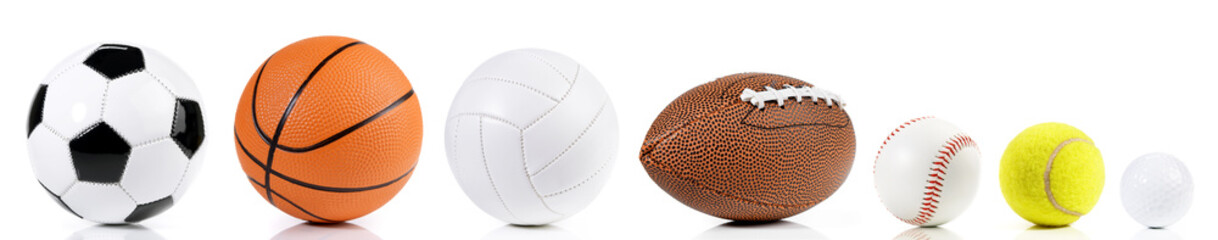 Various balls isolated on white background - Ball Sport Panorama