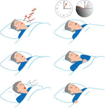 睡眠時無呼吸症候群のシニアの男性