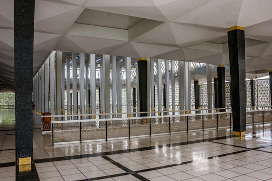 Kuala Lumpur, Malaysia - January 27, 2009: The interior of the National Mosque of Malaysia
