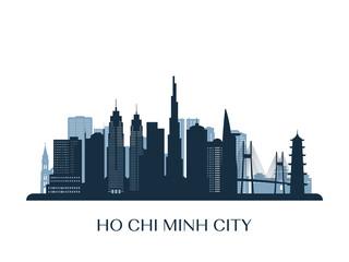 Ho Chi Minh City skyline, monochrome silhouette. Vector illustration.
