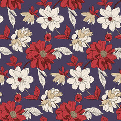 Vector illustration - burgundy, red, beige flowers, leaves and buds on a dark purple background. Seamless pattern for textile, decor, fabric, greeting cards, paper, etc.