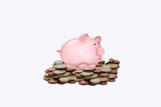 piggy bank with euro coins piggy bank with euro coins