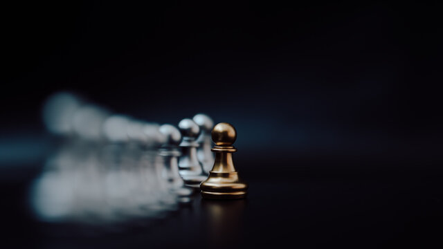 Gold pawn of chess. Unique, Think different, Individual and standing out from the crowd concept