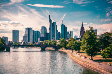 skyline of Frankfurt am Main, Germany. View from the river Wall mural