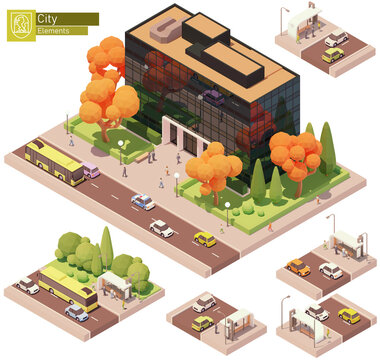 Vector isometric modern office building and bus stop. High-rise office buildings, trees, cars, bus and people. Isometric city or town map construction elements