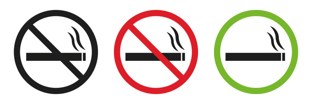 No smoking and Smoking area vector signs. Stop do not smoke circle icon symbol. Red and green smoking area. Smoke free zone. Vector eps10.