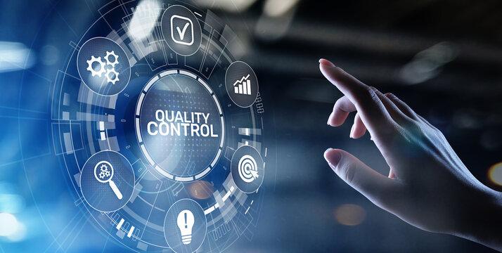 Quality control assurance standards business technology concept.