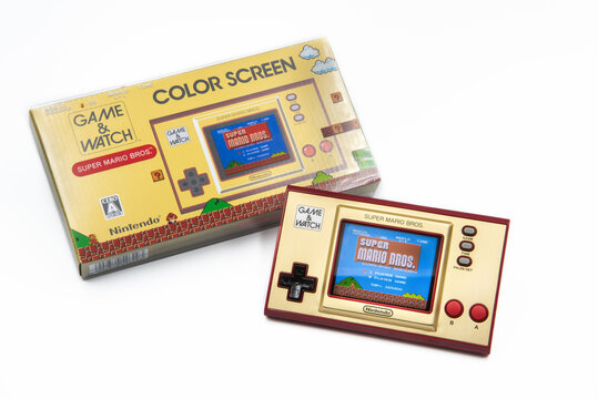 Fukuoka, Japan - november 29, 2020 : nintendo super mario bros 35th anniversary game and watch special edition isolated on white background
