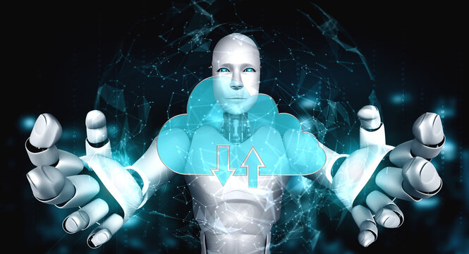 AI robot using cloud computing technology to store data on online server . Futuristic concept of cloud information storage analyzed by machine learning process . 3D rendering illustration .