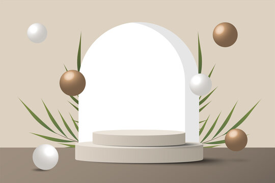 Abstract minimal scene on pastel background with cylinder podium and leaves. Stage mockup showcase for product, banner, sale, presentation, cosmetic and discount. 3d vector illustration.