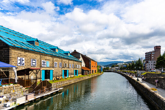 Scenery along the Otaru Canal in Otaru City, Hokkaido, Japan