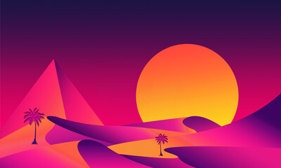 Retro futuristic desert landscape background with sun and pyramid