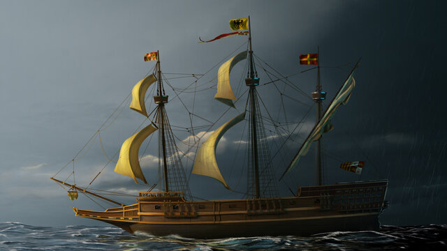 Galleon on the sea