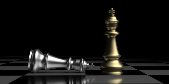 Silver chess king laying down and golden king standing up winner on a chessboard, checkmate. 3D illustration.