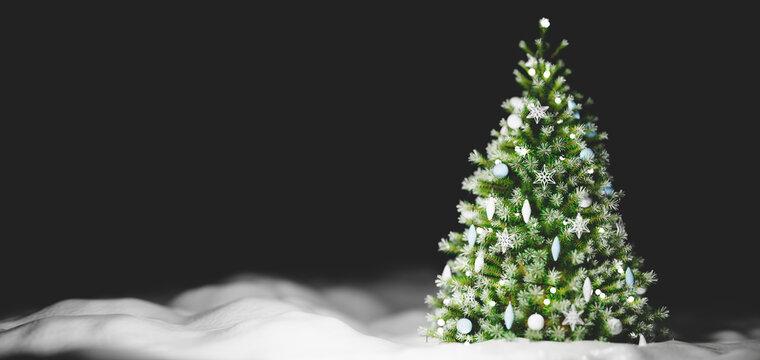 Christmas tree on snow decoration.