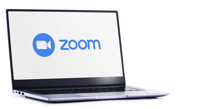 Laptop computer displaying logo of Zoom