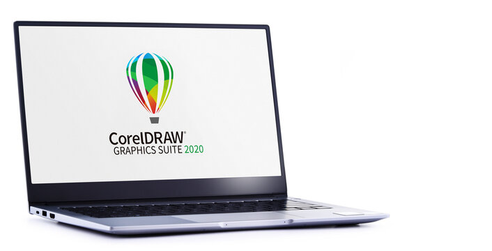 Laptop computer displaying logo of  CorelDraw Graphics Suite