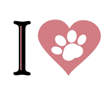 White paw Print In heart and letter I