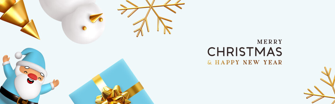 Christmas and New Year holiday. Background with realistic gift box, blue 3d render merry Santa Claus, snowman and golden tree. Greeting card, banner, horizontal poster, website header. Xmas decorative