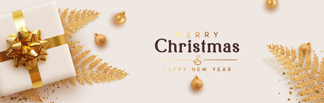 Christmas banner. Background Xmas design of realistic 3d render gifts box, golden fern branches, glitter gold confetti, bauble ball. Horizontal New year poster, greeting card, headers for website