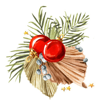 Christmas composition with dried palm leaves and ornaments, Watercolor hand drawn illustration isolated on white background