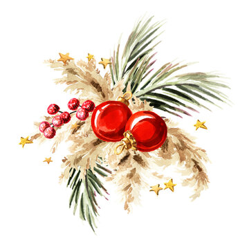 Christmas composition with pampas grass, dried palm leaf and ornaments.  watercolor hand drawn illustration, isolated on white background