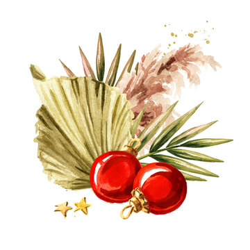 Christmas composition with pampas grass, dried palm leaves and ornaments, Watercolor hand drawn illustration isolated on white background