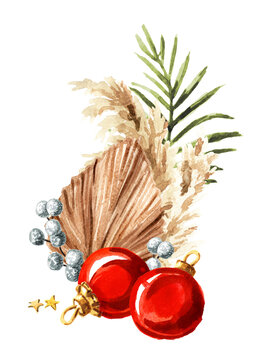 Christmas composition with pampas grass, dried palm leaves and ornaments. Watercolor hand drawn illustration isolated on white background