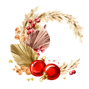 Christmas composition with pampas grass, dried palm leaves, ornaments. Watercolor hand drawn illustration, isolated on white background