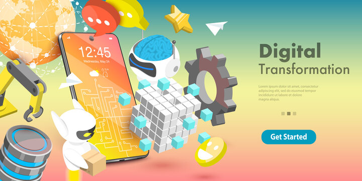 3D Vector Conceptual Illustration of Digital Transformation Areas Which are Big Data, Networking, Automation, Communication, IoT, Robotics, AI, Technology.
