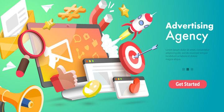 3D Vector Conceptual Illustration of Digital Marketing Agency, Advertising Campaign.