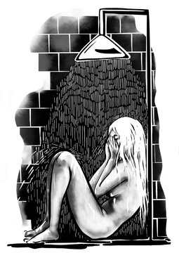 A woman crying in the shower. Digital ink illustration